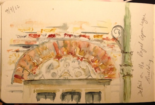 Detail on the Royal Copenhagen building (watercolour - small sketch)
