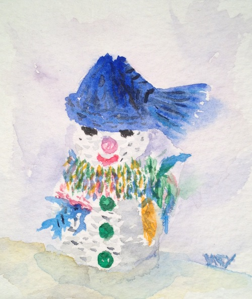 Knitted snowman (watercolour sketch)