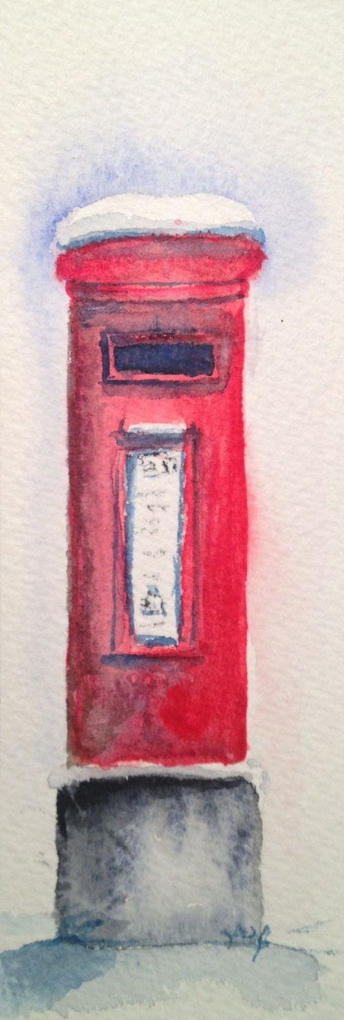 Red letter box (watercolour sketch)