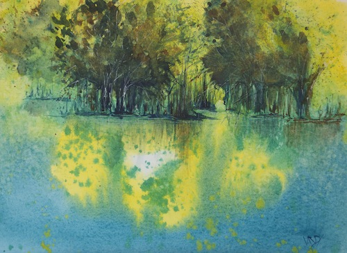 Dappled light on water (watercolour)