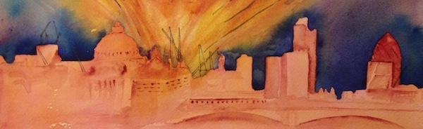 Blazing London (watercolour 320 x 110)
