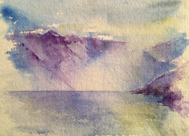 Misty morning lake (small watercolour)