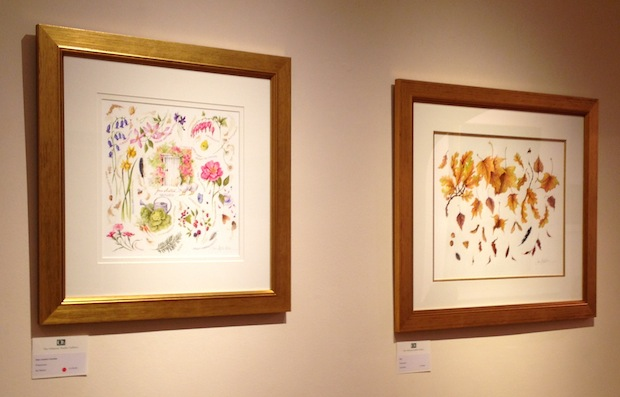 Jan Harbon's Jane Austen's Garden (left) and Fall (right) - watercolours