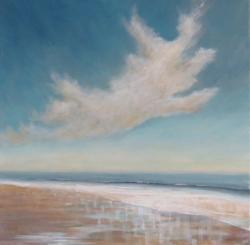 Lisa Le Quelenec - Reflecting in the sand 50x50cm