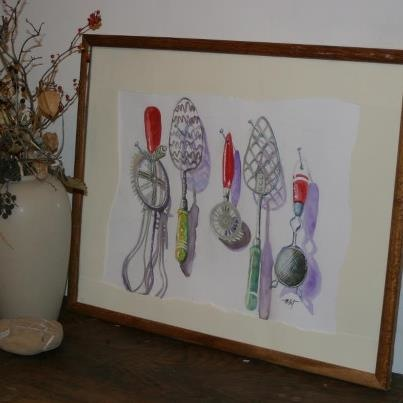 Vintage Kitchen Tools - by Mary Frances Millet. Watercolour