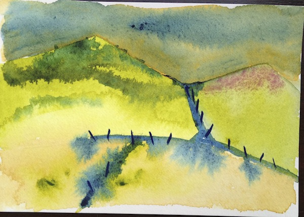 Abstracting watercolour landscape colour study 1