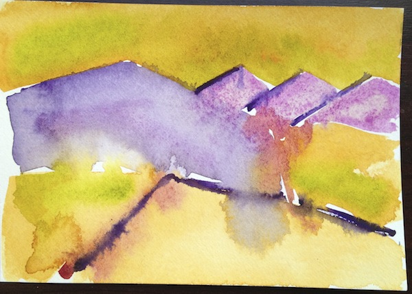 Abstracting watercolour landscape colour study 4