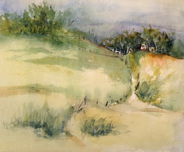 Retreat Watercolour landscape painting.