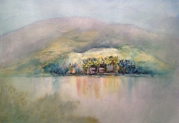 Landscape watercolour painting - Mist Clearing