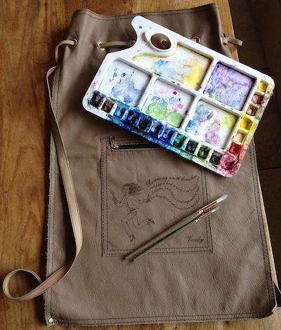 Running with Brushes leather bag
