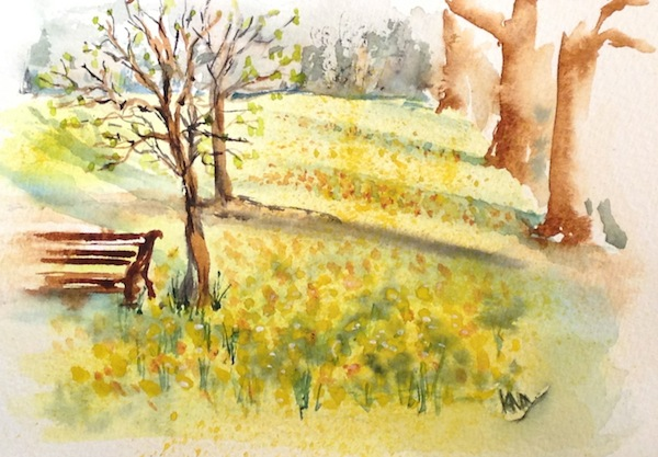 Watercolour Painting. Early Spring in Green Park