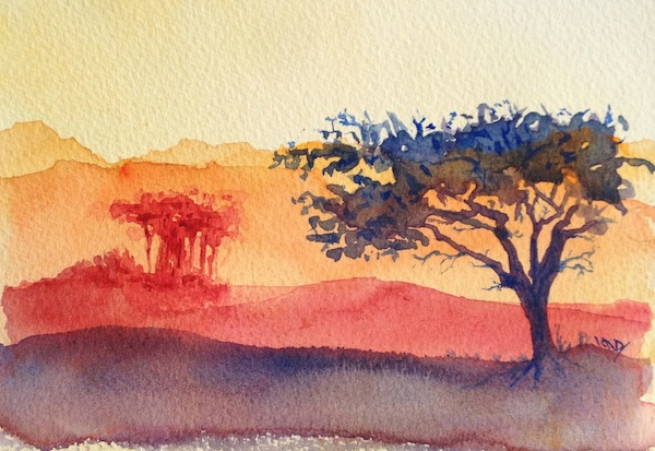 Dusty Red Sunset (watercolour 4 x 6 inches)