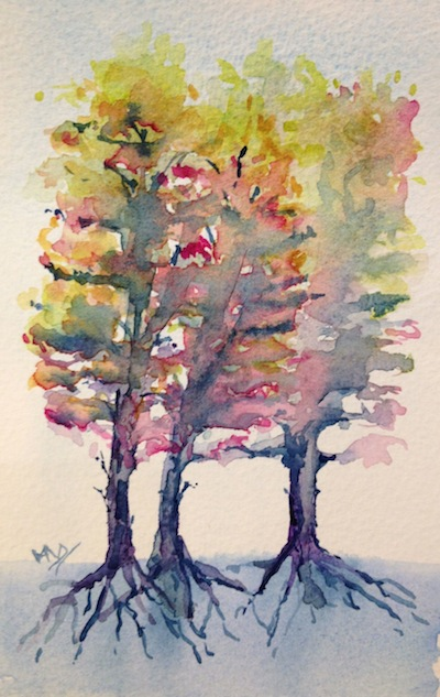 Watercolour painting. Three Sisters (watercolour 4 x 6 inches)