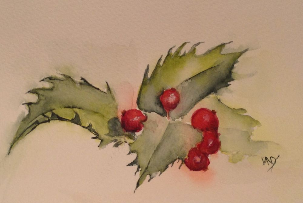 Advent 1 - Holly. (watercolour 6 x 4 inches)
