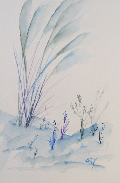 Winter Grasses (watercolour 4 x 6 inch). Artist: Vandy Massey