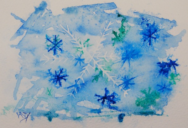 Stars and Snowflakes (watercolour and ink 6 x 4 inches). Artist: Vandy Massey