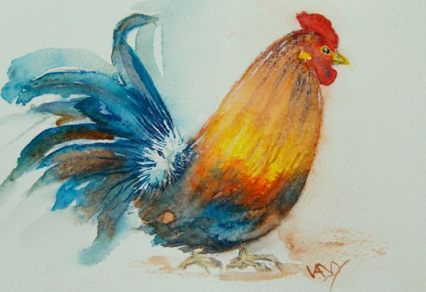 Christmas Cockerel (watercolour 5 x 4 inches) Artist: Vandy Massey