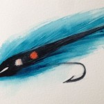 Paintings of fishing flies. Frosty Smelt (watercolour 15 x 10cm)