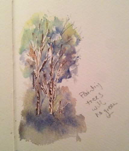 watercolour painting, Tree sketch without green.