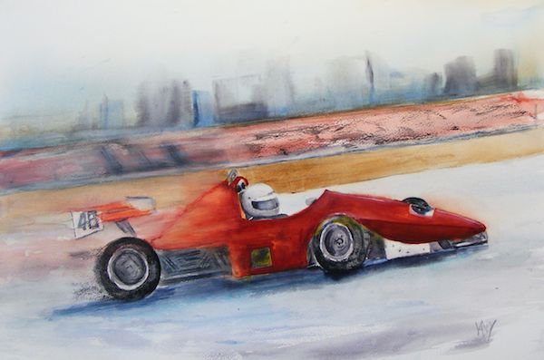 Qualifying time. (watercolour 51 x 35 cm) Artist: Vandy massey