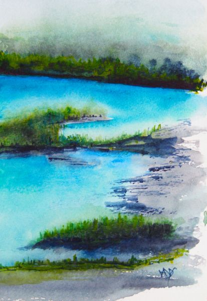 Watercolour landscapes. Ice Blue Water (watercolour 10 x 15)