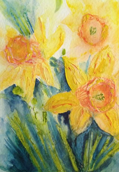 Daffodil studies  - in Relief