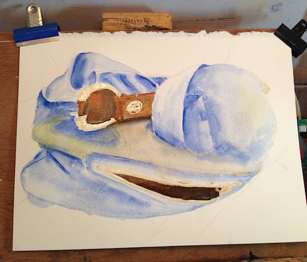 leather handbag watercolour WIP 2