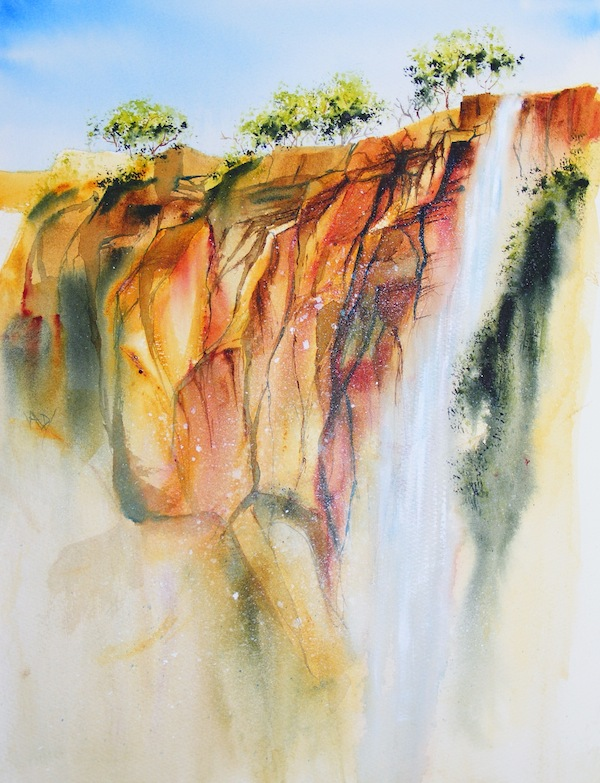 Spray on the Rocks (watercolour inspired by South West Rocks)