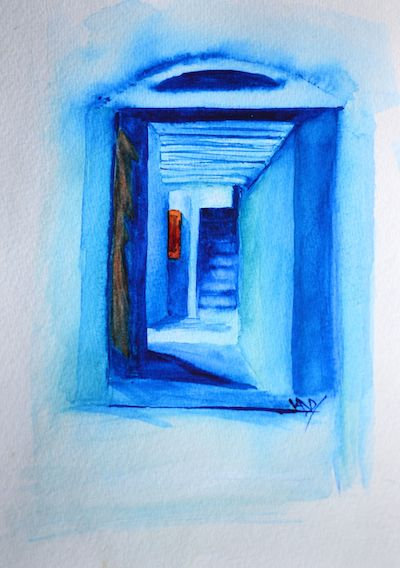 Blue stairs (watercolour 12 x 17 cm)