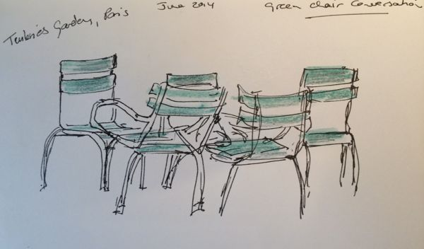 Sketch. Green chair conversation