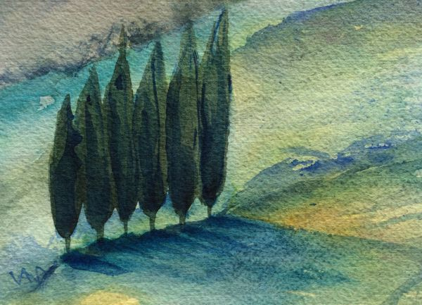Long Shadows watercolour