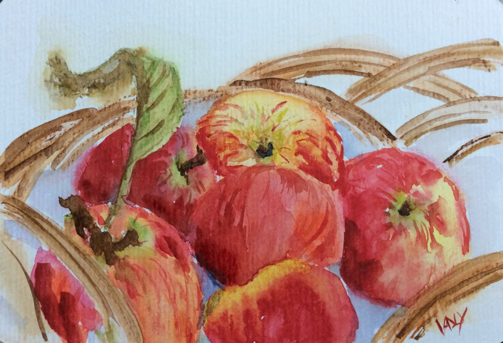 Painting Autumn apples  (watercolour 14 x 9 cm)