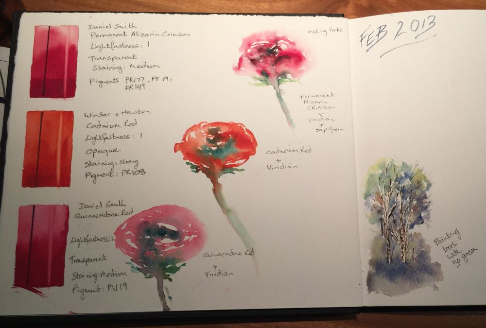 Watercolour journal red page