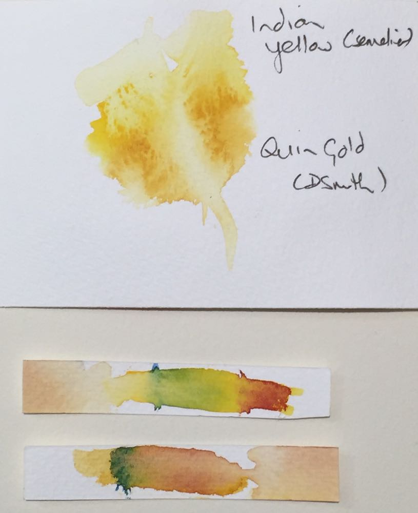 Watercolour week yellow and gold comparison