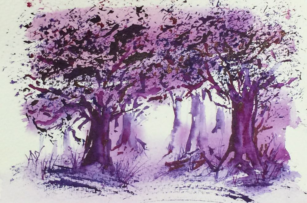 Enchanted forest watercolour on www.runningwithbrushes.com