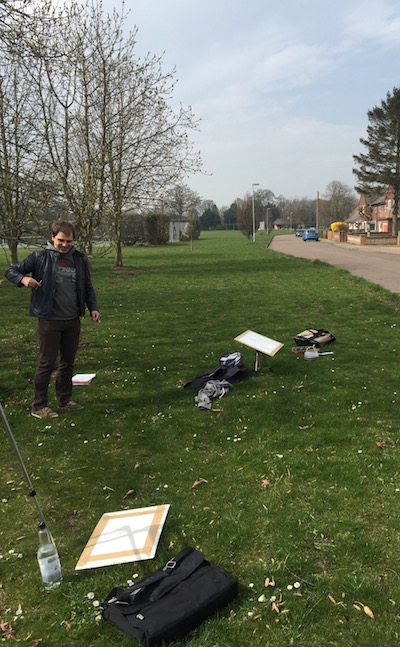 watercolour workshop - painting on The Lawn in Whittlesford