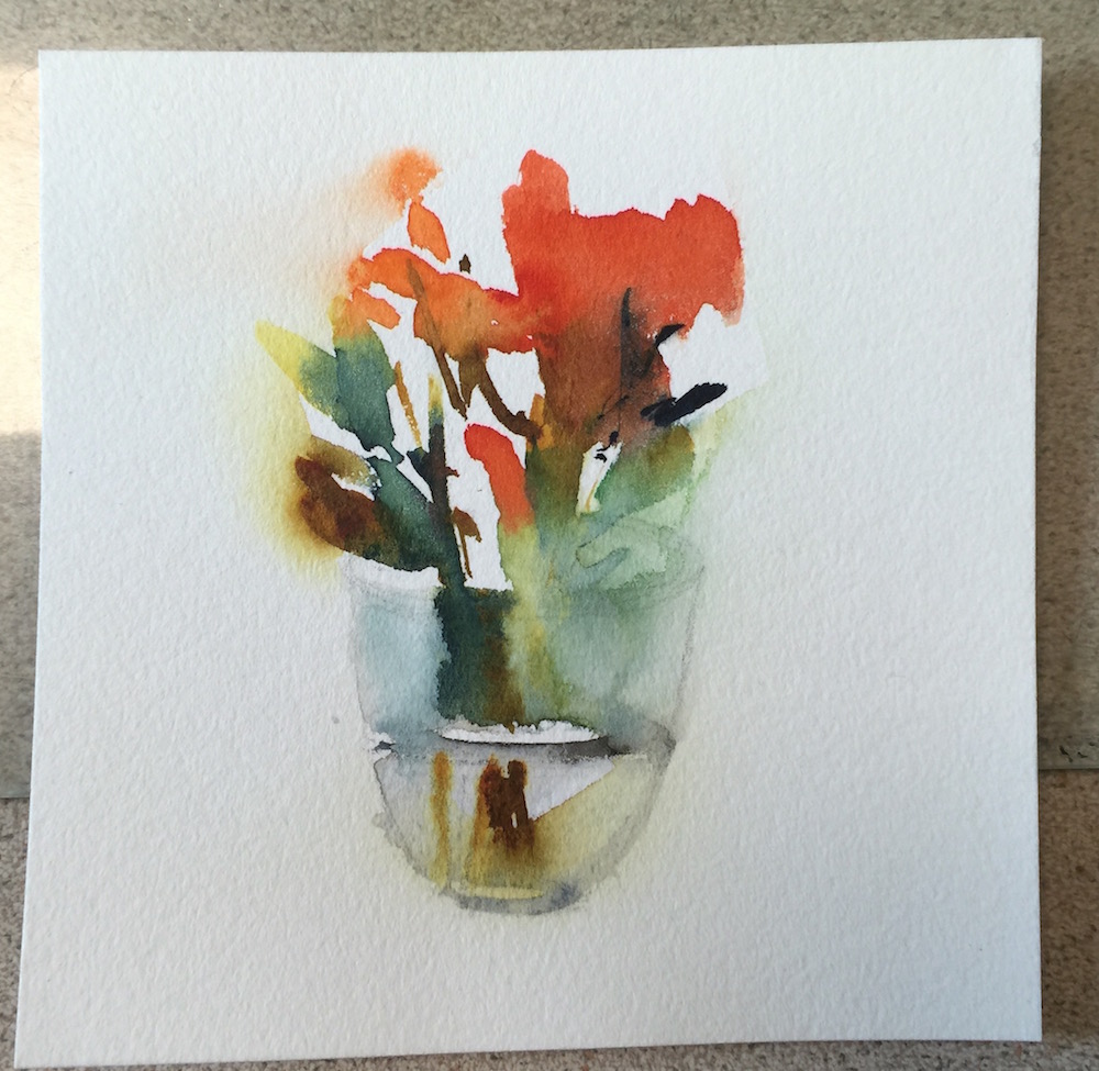 painting fresh flowers in a glass