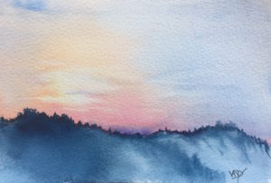 Sunset speed painting 5 - painting Paxos watercolours