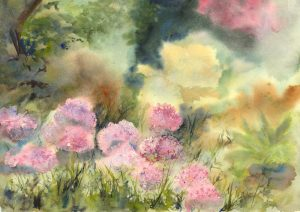Alliums in the Garden. Watercolour by Vandy Massey
