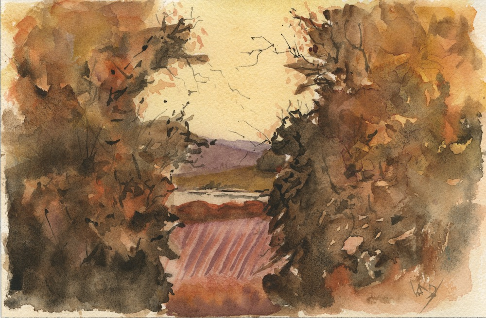 Through the Gap. Watercolour by Vandy Massey