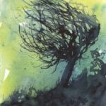 Windswept - small watercolour by Vandy Massey. Part of a 1000 watercolour project.