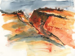Tregardock Red. Watercolour and Oil Pastel by Vandy Massey