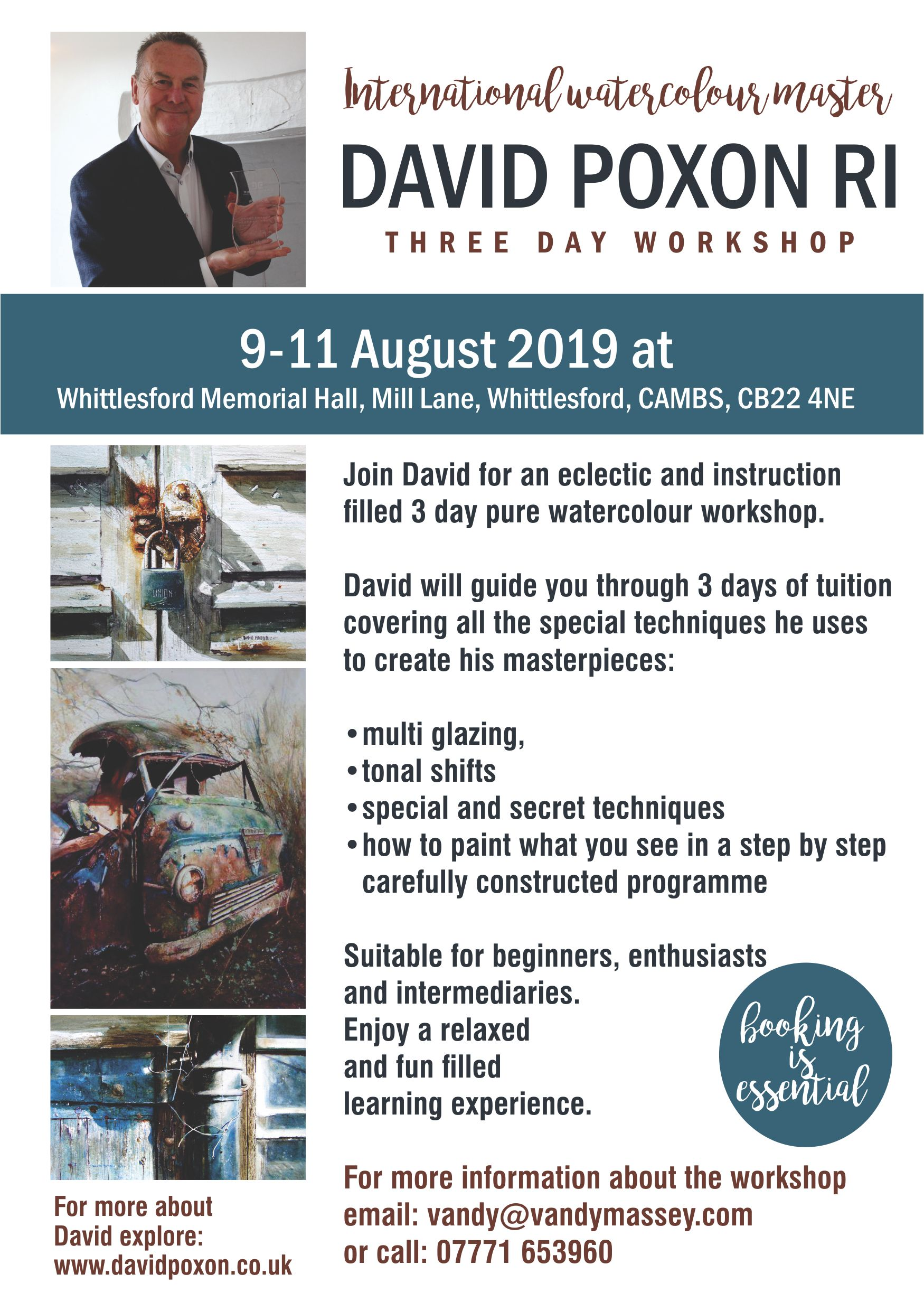 David Poxon RI Watercolour Workshop August 2019