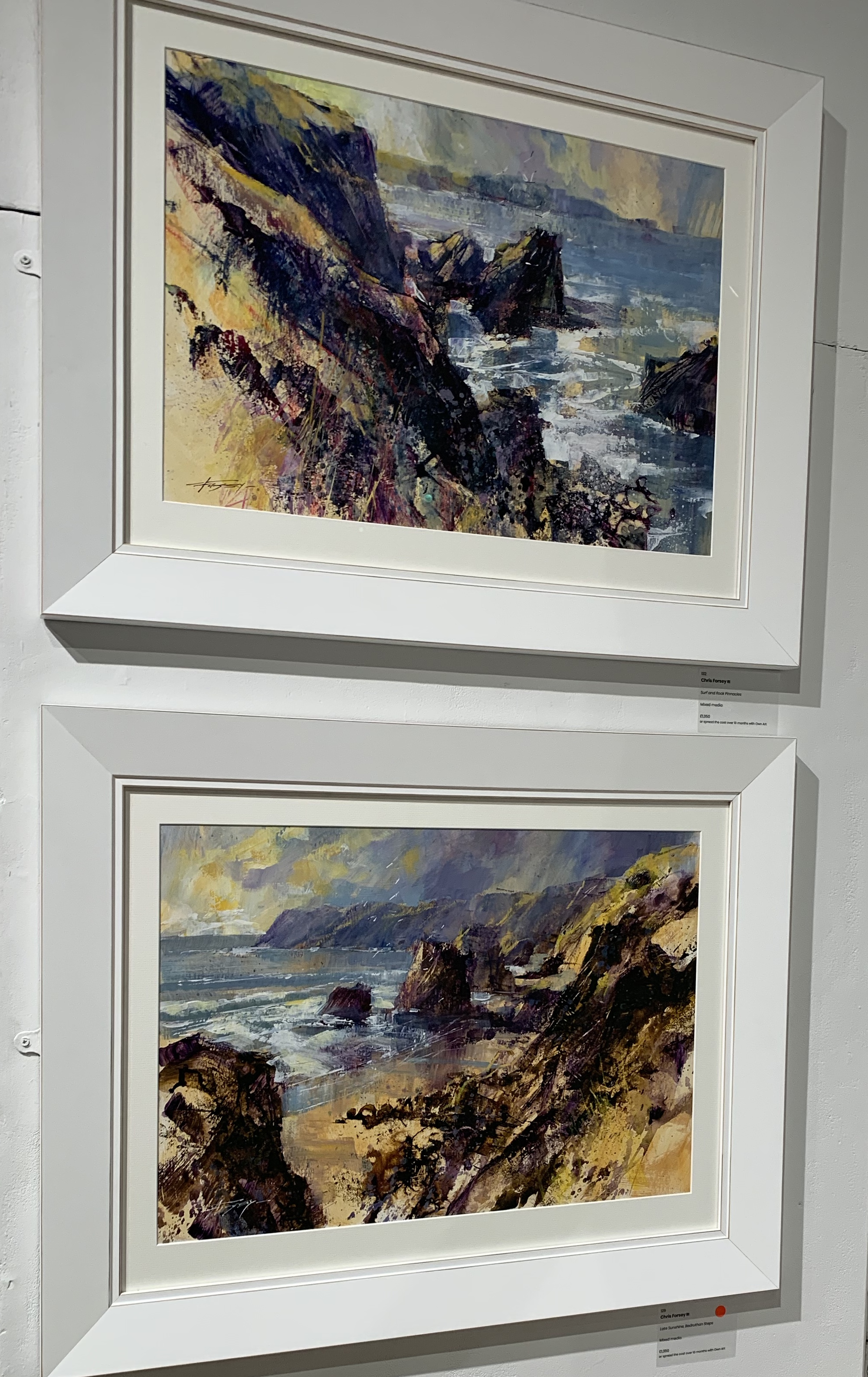 Surf and Rock Pinnacles, and Late Sunshine, Bedruthan Steps, by Chris Forsey RI