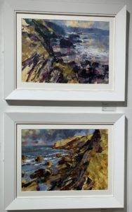 Mist and Rocky Shore, and Showers Approaching, Tregardock Beach, by Chris Forsey RI