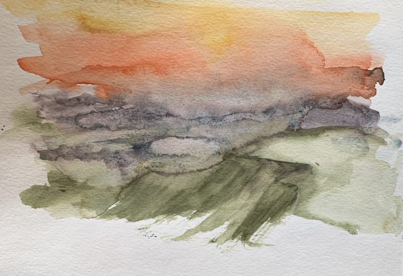 Capturing the colours of Brecon Beacon sunrise in watercolour in my sketchbook
