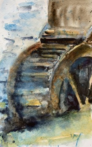 Painting a mill wheel