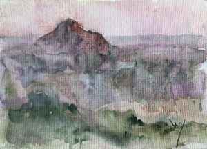 Watercolour of the mother of mountains