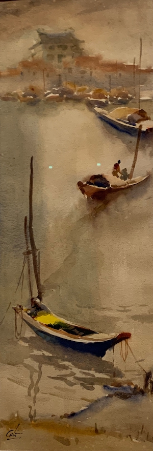 Lim Cheng Hoe. Watercolour. Boats by the waterfront