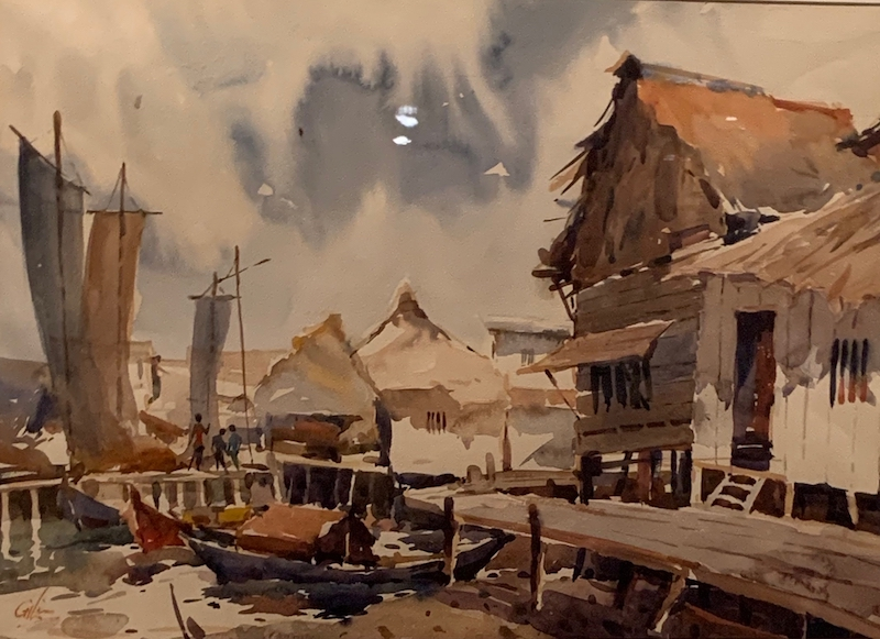 Watercolour. Attap and Nets at Kukup